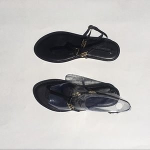 BCBG strappy sandals w/ gold floral detail, size 8